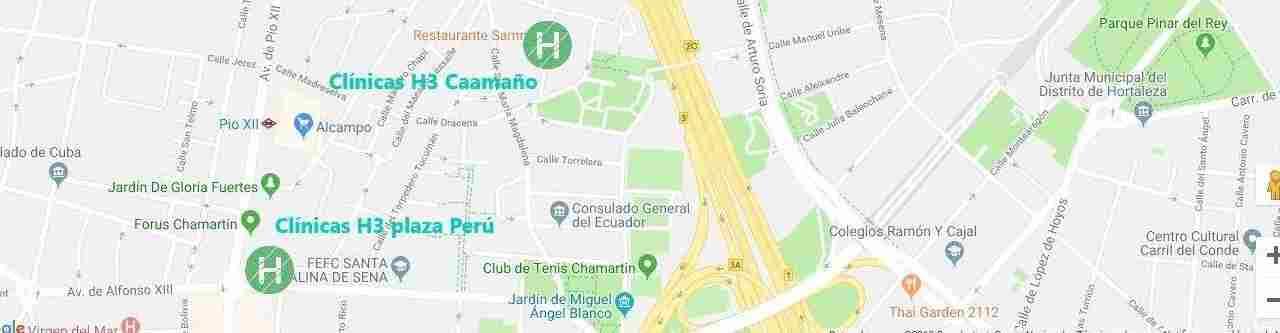 Situación y teléfonos Clínicas H3 en Madrid
