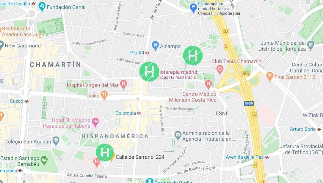 Plano y situación de clínicas h3 fisioterapia en Madrid