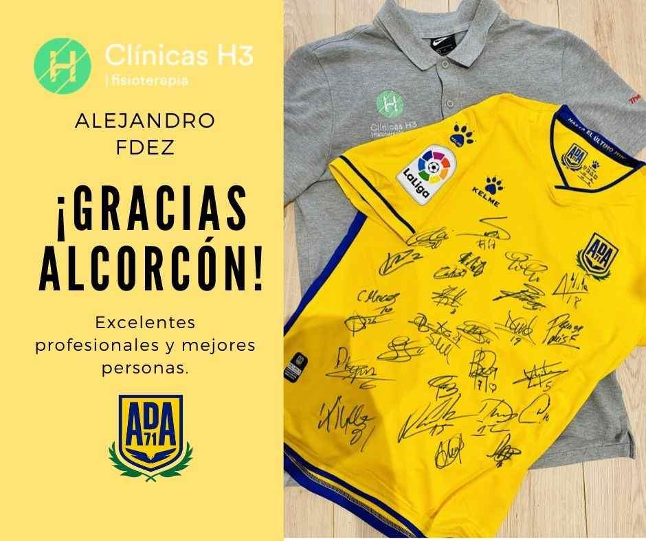 AD Alcorcon y Alejandro Feranandez fisioterapeuta en Clínicas H3