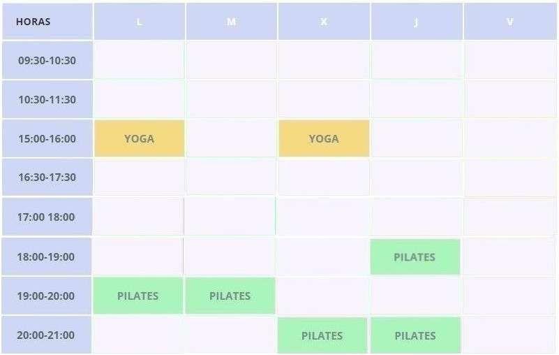Horarios clases pilates y yoga Clínicas H3 Caamaño Madrid