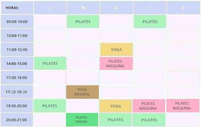Clases de pilates suelo y pilates online horarios Clínicas H3 serrano Madrid