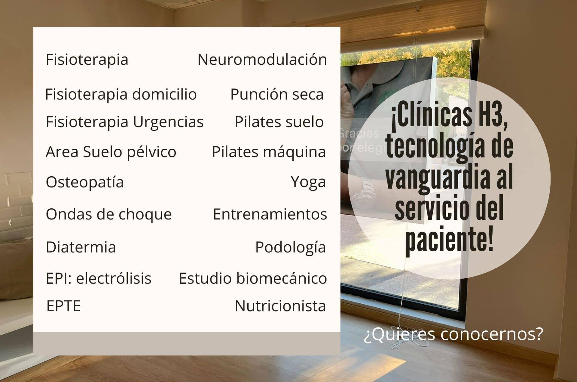 Mejor clinica fisioterapia Madrid. Clínicas H3